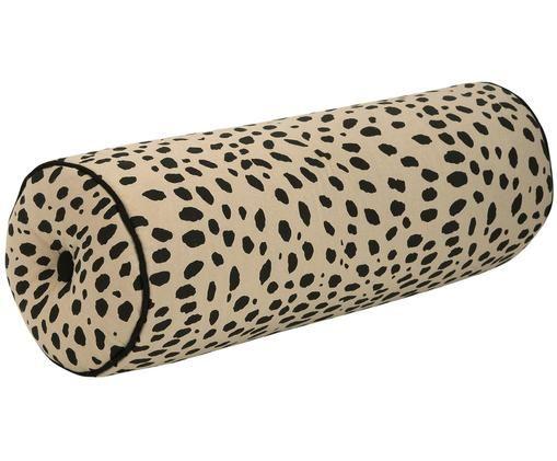 Traversin imprimé animal avec passepoil noir Leopard, Rouleau: beige, noir bordure passepoilée: noir