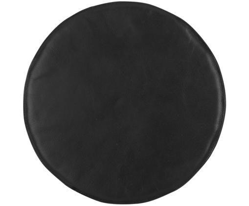 Leder-Sitzauflage Elegance, Vorderseite: 100% Leder, Rückseite: 100% Baumwolle, Schwarz, Ø 37 cm