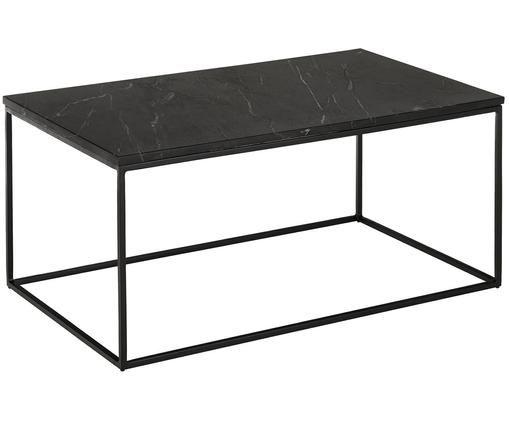 Marmor-Couchtisch Alys, Tischplatte: Marmor Naturstein, Gestell: Metall, pulverbeschichtet, Tischplatte: Schwarzer Marmor, leicht glänzendGestell: Schwarz, matt, B 90 x T 55 cm
