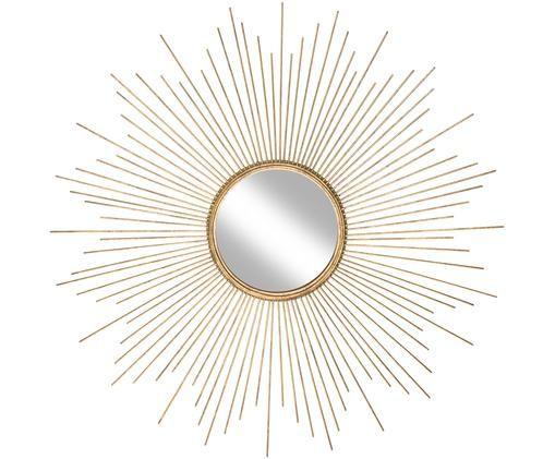 Specchio da parete Ella, Cornice: metallo, Superficie dello specchio: lastra di vetro, Dorato, Ø 98 cm