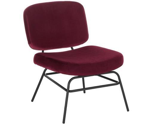 Krzesło tapicerowane z aksamitu Malte, Tapicerka: aksamit (poliester) 2000, Nogi: metal malowany proszkowo, Tapicerka: ciemny czerwony Nogi: czarny matowy, S 58 x G 71 cm