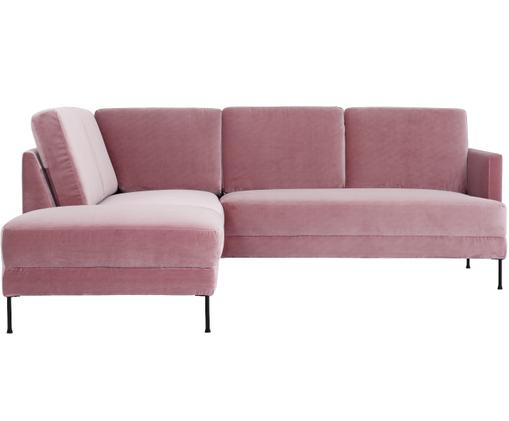 Sofa narożna z aksamitu Fluente, Tapicerka: aksamit (wysokiej jakości, Stelaż: lite drewno sosnowe, Nogi: metal lakierowany, Blady różowy aksamit, S 221 x G 200 cm