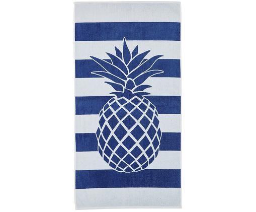 Ręcznik plażowy Anas, Bawełna Niska gramatura 380 g/m², Niebieski, biały, S 80 x D 160 cm