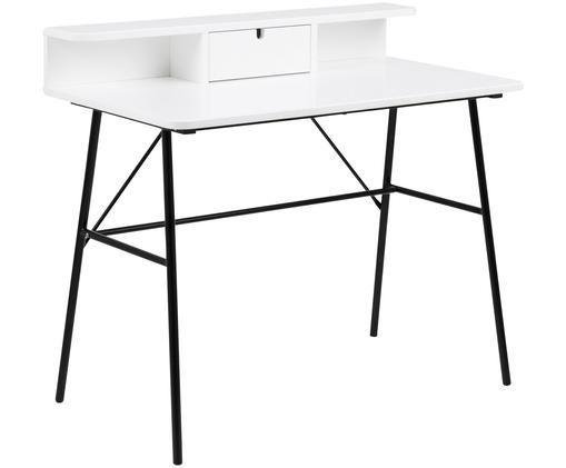 Schreibtisch Pascal mit weisser Platte, Beine: Metall, lackiert, Tischplatte und Aufbau: Mitteldichte Holzfaserpla, Schwarz, Weiss, B 100 x T 55 cm