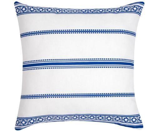 Kissenhülle Greece in Blau/Weiss, Baumwolle, Weiss,Blau, 45 x 45 cm