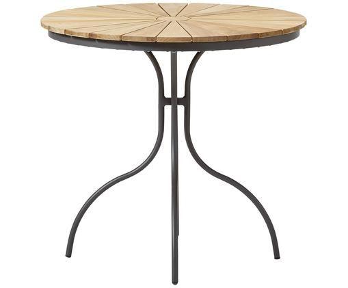 Runder Gartentisch Hard & Ellen aus Holz, Tischplatte: Teakholz, geschliffen, Anthrazit, Teak, Ø 80 x H 72 cm