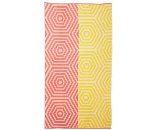 Ręcznik plażowy Cloudburst, Koralowy, żółty