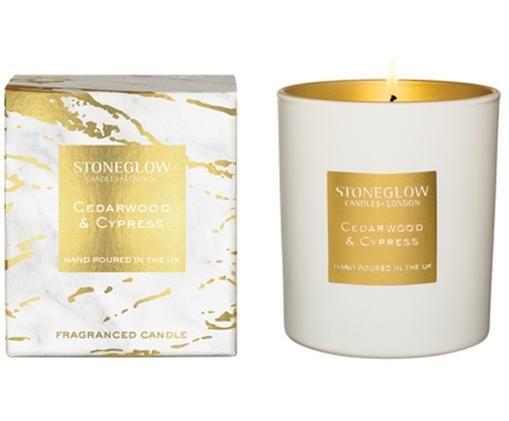 Bougie parfumée Luna (bois de cèdre, cyprès), Couleur dorée