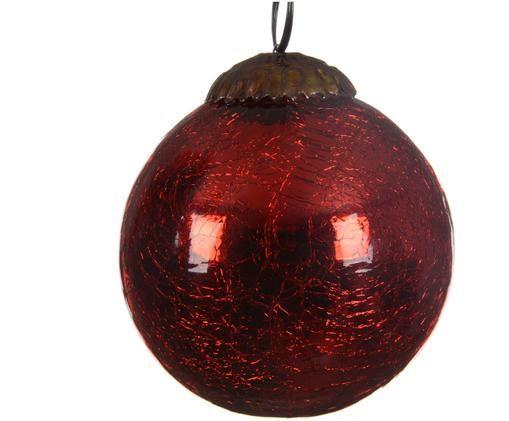 Weihnachtskugeln Craquele, 3 Stück, Rot