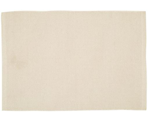 Handgewebter Wollteppich Delight in Wollweiß, Vorderseite: 90% Wolle, 10% Baumwolle, Rückseite: Baumwolle, Wollweiß, B 250 x L 350 cm (Größe XL)