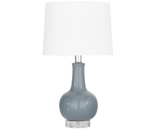 Keramik-Tischleuchte Brittany, Lampenschirm: Textil, Lampenfuß: Keramik, Kristall, Weiß, Grau, Ø 28 x H 48 cm