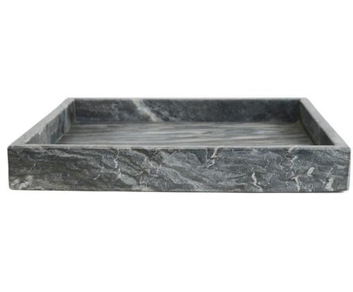 Deko-Marmor-Tablett Ciaran, Marmor, Grau, marmoriert, B 30 x T 30 cm