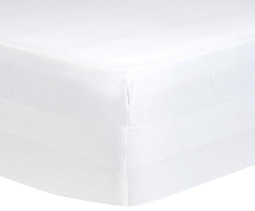 Boxspring-Spannbettlaken Comfort, Baumwollsatin, Webart: Satin, leicht glänzend, Weiss, 90 x 200 cm
