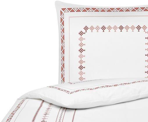 Perkal-Bettwäsche Indira im Boho Style, Webart: Perkal Fadendichte 180 TC, Weiß, Terrakotta, 135 x 200 cm