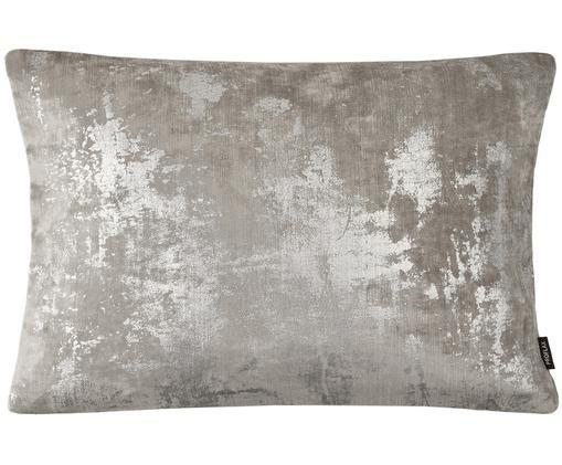Fluwelen kussenhoes Shine, Polyester fluweel, Grijs, zilverkleurig, glinsterend, 40 x 60 cm