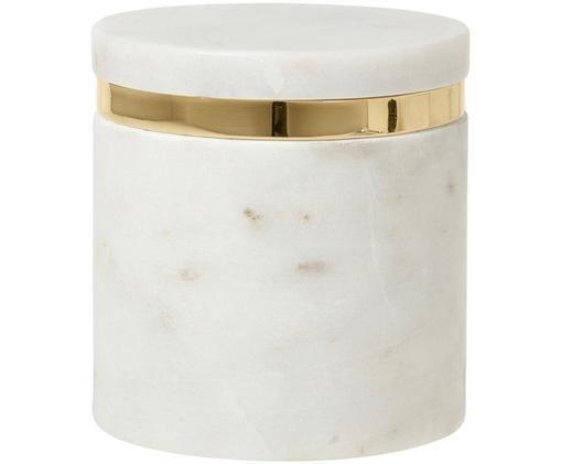 Opbergpot Ring, Wit, messingkleurig