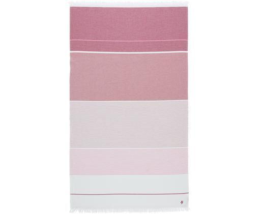 Ręcznik plażowy Lawa, Odcienie różowego, biały, S 100 x D 180 cm