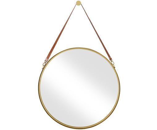 Specchio da parete Liz, Superficie dello specchio: lastra di vetro, Cinturino sospensione: pelle, Oro, Ø 80 cm