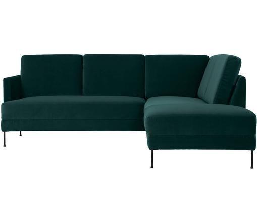 Divano con chaise-longue in velluto Fluente, Rivestimento: velluto (rivestimento in , Struttura: legno di pino massiccio, Piedini: metallo verniciato, Verde scuro, Larg. 221 x Prof. 200 cm