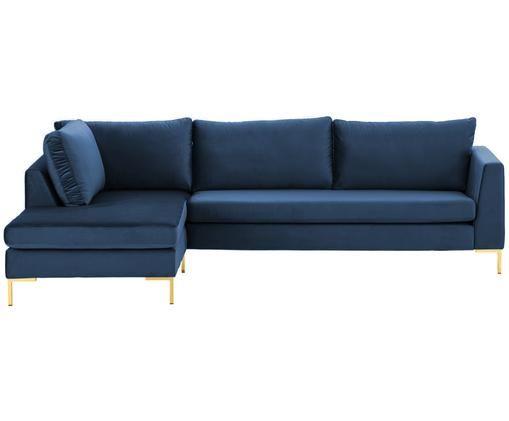 Canapé d'angle en velours Luna, Bleu