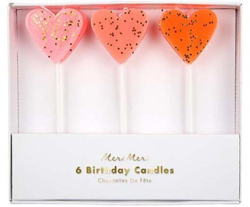 Komplet świeczek tortowych Heart, 3 elem., Parafina, tworzywo sztuczne, Blady różowy, czerwony, biały, S 3 x W 10 cm