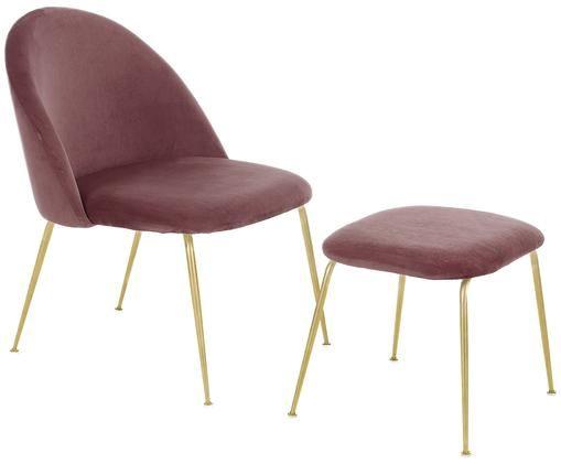 Set sillón de terciopelo Villum, 2pzas., Tapizado: terciopelo (poliéster) Re, Patas: metal cepillado, Tapizado: terciopelo (poliéster) Re, Patas: metal cepillado, Rosa, dorado, Tamaños diferentes