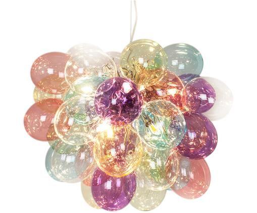 Lampada a sospensione con sfere di vetro Gross, Baldacchino: metallo, rivestito, Multicolore, Ø 50 x Alt. 45 cm