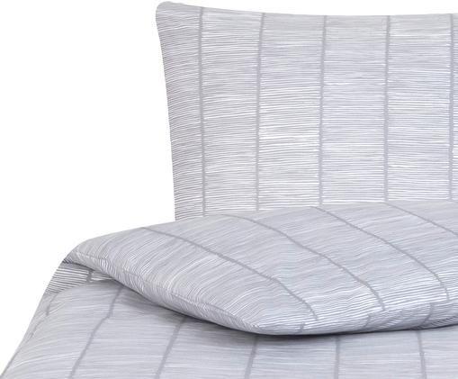Gemusterte Renforcé-Bettwäsche Paulina, Webart: Renforcé, Grau, Weiß, 135 x 200 cm