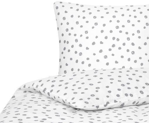 Renforcé-Bettwäsche Jana, gepunktet, Webart: Renforcé, Weiß, Grau, 135 x 200 cm