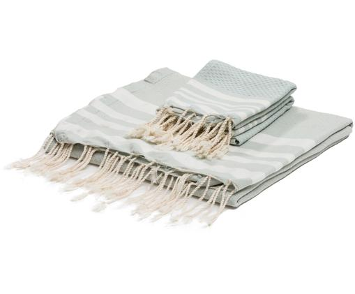 Komplet ręczników Hamptons, 3 elem., Bawełna, Bardzo niska gramatura, 200 g/m², Zielony miętowy, biały, Różne rozmiary