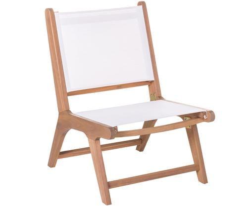 Zewnętrzny fotel Nina, Stelaż: lite drewno akacjowe, Biały, S 50 x G 64 cm