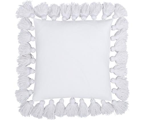 Kissenhülle Shylo mit Quasten, Baumwolle, Cremeweiß, 40 x 40 cm
