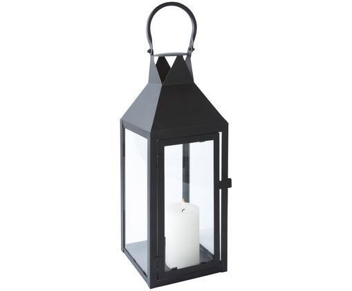 Laterne Noir, Metall, Glas, Schwarz, 15 x 40 cm
