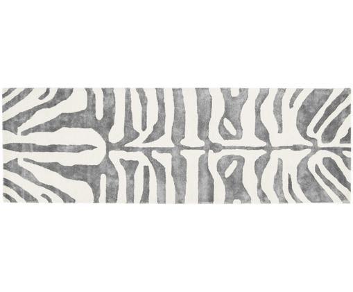 Handgetufteter Läufer Kapstadt, Flor: 75% Viskose, 25% Wolle, Grau, Creme, 80 x 250 cm