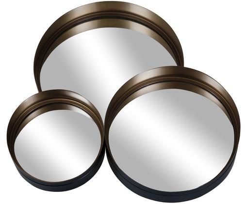 Rundes Wandspiegel-Set Dolce mit schwarzem Rahmen, 3-tlg., Spiegelfläche: Spiegelglas, Schwarz, Gold, Sondergrößen