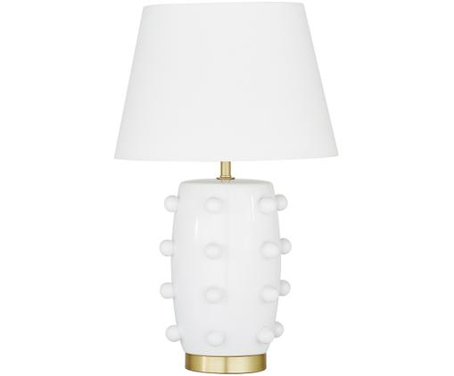 Tafellamp Leandra, Lampvoet: keramiek, vermessingd met, Lampenkap: textiel, Lampvoet: wit, lampenkap van messing: Witte snoerl: transparant, Ø 36 x H 57 cm