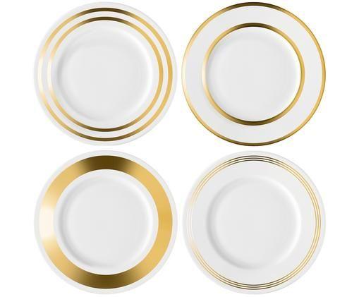 Ensemble d'assiettes à dessert Deco, 4élém., Blanc, couleur dorée