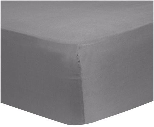 Lenzuolo con angoli per il letto continentale Comfort, raso di cotone, Grigio scuro, Larg. 90 x Lung. 200 cm