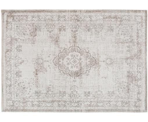 Vintage Chenilleteppich Medaillon, Vorderseite: Chenillegarn (Baumwolle), Webart: Jacquard, Rückseite: Chenillegarn, latexbeschi, Hellgrau, Braun, B 170 x L 240 cm (Größe M)