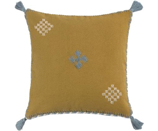 Federa arredo con ricamo Kelti, Cotone, Giallo senape, blu grigio, Larg. 45 x Lung. 45 cm