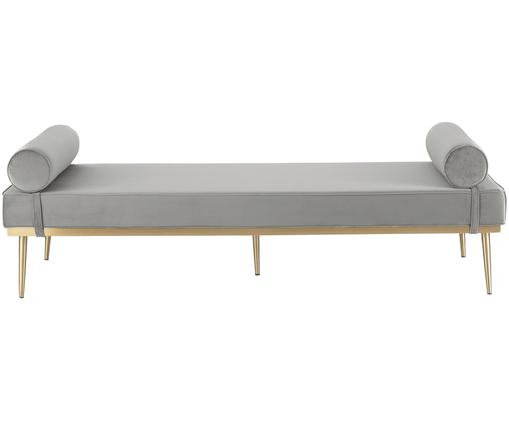 Łóżko dzienne XL Aurora, Tapicerka: aksamit (wysokiej jakości, Tapicerka: pianka, Nogi: metal powlekany, Tapicerka: szary Nogi: odcienie złotego, błyszczący, S 200 x W 64 cm