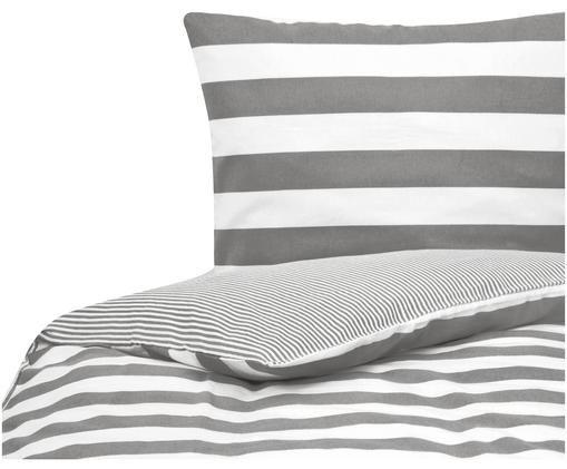 Dwustronna pościel z cienkiej flaneli Tyler, 100% bawełna, cienka flanela, Biały, szary, 135 x 200 cm