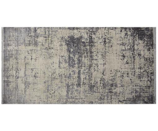 Tappeto vintage con frange effetto lucido Cordoba, Retro: cotone, Grigio chiaro, grigio scuro, Larg. 80 x Lung. 150 cm (taglia XS)