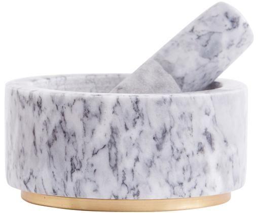 Set mortaio e pestello Bardi, set di 2, Mortaio e pestello: marmo, Grigio chiaro, marmorizzato, Ø 7 x Alt. 14 cm