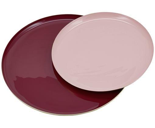 Set piatti da portata Juna, 2 pz., Alluminio, smaltato, Rosso scuro, rosa chiaro, Diverse dimensioni