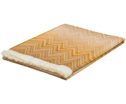 Designer Woll-Plaid Timmy, Wolle, Plaid: Creme, orange, braunFransen: Creme, 130 x 190 cm