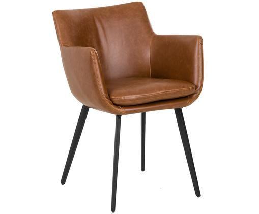 Krzesło z podłokietnikami ze sztucznej skóry  Cameron, Tapicerka: sztuczna skóra (poliureta, Nogi: metal malowany proszkowo, Odcienie koniakowego, S 53 x G 59 cm