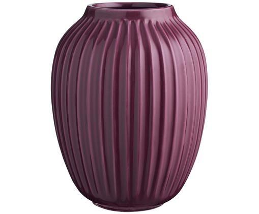 Vaso di design fatto a mano Hammershøi, Porcellana, Prugna, Ø 20 x Alt. 25 cm
