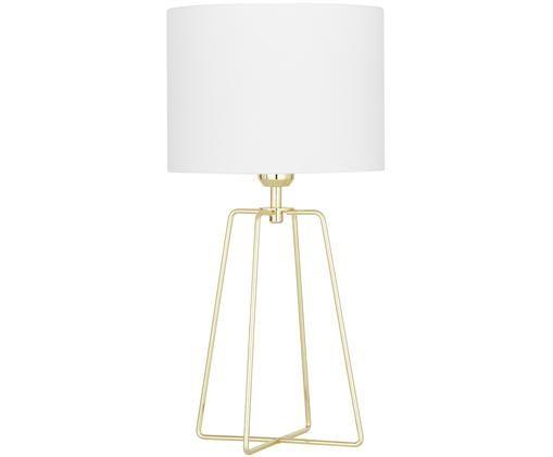 Lampada da tavolo Miranda, Paralume: velluto, Base della lampada: metallo ottonato, Paralume: bianco Base della lampada: ottone lucido Cavo: trasparente, Ø 25 x Alt. 49 cm