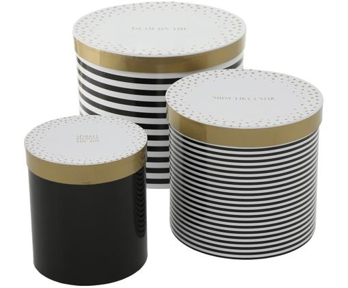 Ensemble de coffrets cadeaux Glamy, 3élém., Noir, blanc, couleur dorée